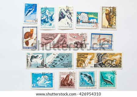 UZHGOROD, UKRAINE - CIRCA MAY, 2016: Collection of postage stamps printed in USSR shows Barguzin Nature Reserve and animals of Antarctica, circa 1961-1967 - stock photo