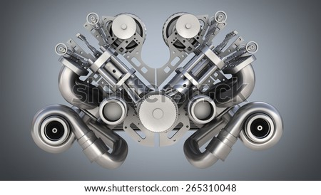 V8 bi turbocharger engine on blue background. High resolution 3D - stock photo