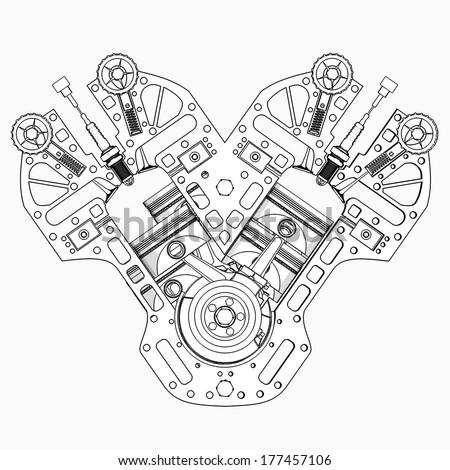 V 8 car engine cartoon illustration outline ilustracin de v8 car engine cartoon illustration outline high resolution malvernweather Images