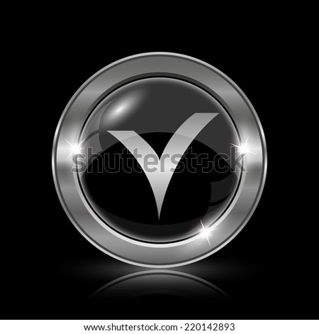 V checked icon. Internet button on black background.