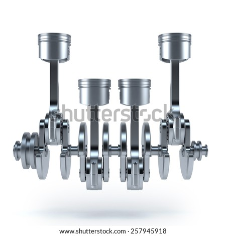 V4 engine pistons and cog. 3d render on white background - stock photo