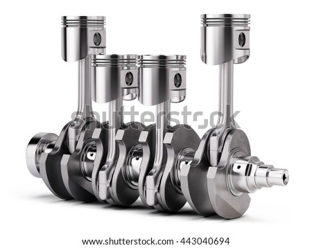 V4 engine pistons and crankshaft isolated on white background. 3d render - stock photo