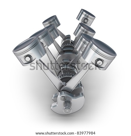 V8 engine pistons. 3D image. - stock photo