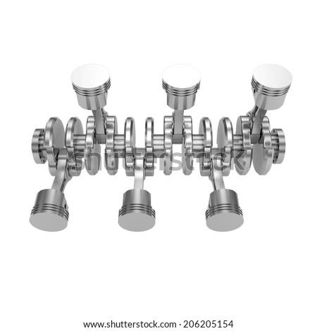V6 engine pistons isolated on white - stock photo