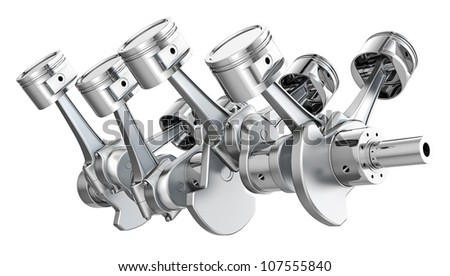 V8 engine pistons on a crankshaft, isolated on white background