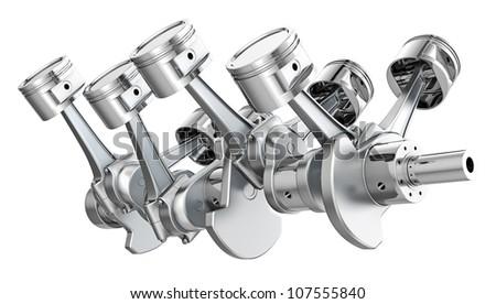 V8 engine pistons on a crankshaft, isolated on white background - stock photo