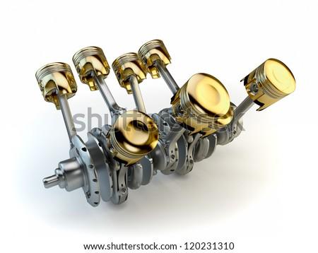 V8 engine pistons on crankshaft - stock photo