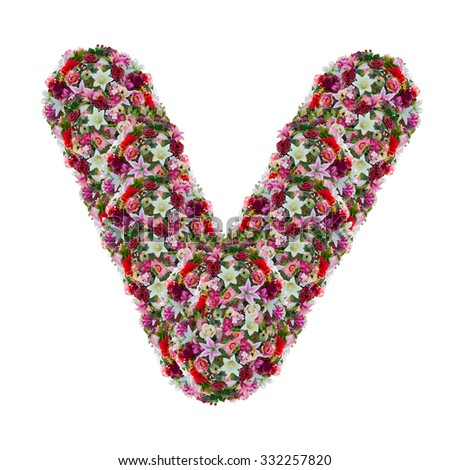 V flower letter isolated on white stock photo edit now shutterstock v flower letter isolated on white background altavistaventures Images