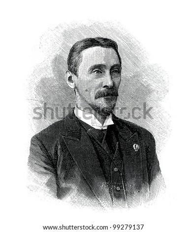 "V.I.  Zhukovsky - Russian lawyerr. Engraving by  Helmitsky. Published in magazine ""Niva"", publishing house A.F. Marx, St. Petersburg, Russia, 1899"