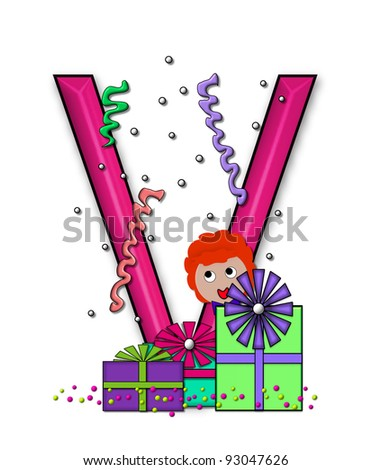 """V, in the alphabet set """"Birthday Letters"""", is surrounded by colorfully wrapped presents complete with bows.  Woman hides behind presents and peeks out pretending surprise. - stock photo"""