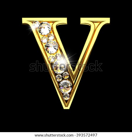 v isolated golden letters with diamonds on black