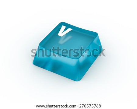 V Letter on transparent blue keyboard button - stock photo