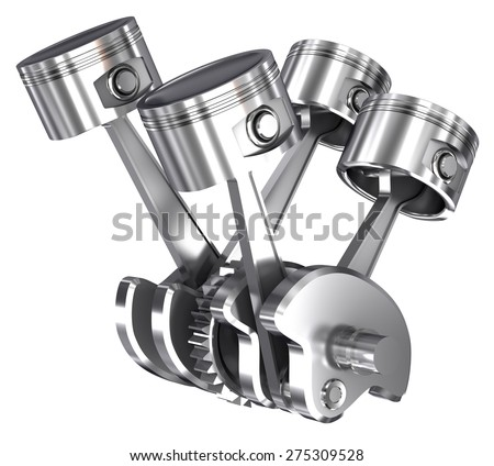 v4 pistons and cog isolated on white  - stock photo