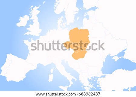 Eastern europe map stock images royalty free images vectors v4 visegrad group central european integration gumiabroncs Image collections