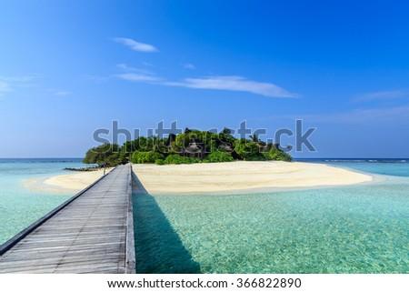 Vaagali island resort, the Maldives - stock photo