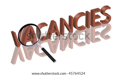 vacancies button Magnifying glass enlarging part of red 3D word with reflection - stock photo