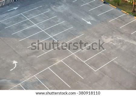 Vacant Parking Lot ,Parking lane outdoor in public park - stock photo