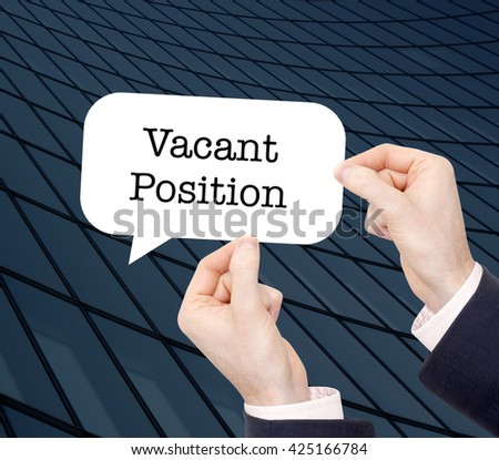 Vacant position written in a speechbubble