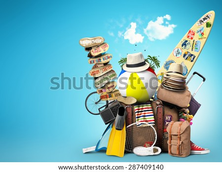 Vacation and travel, a huge pile of things for the holiday - stock photo