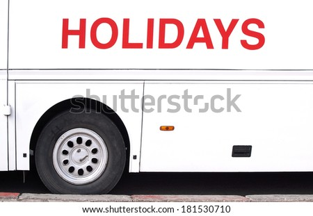 Vacation and travel by bus - stock photo