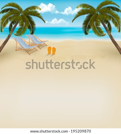 Vacation background. Beach with palm trees and flip flops. Raster version.  - stock photo