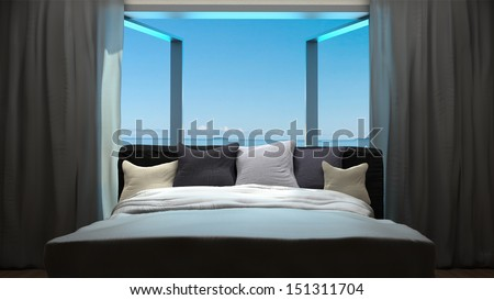 vacation concept background with interior elements of bedroom - stock photo