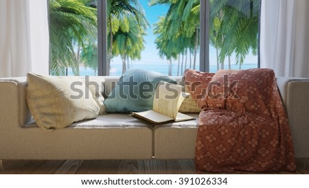 vacation concept background with interior elements,palms and open book