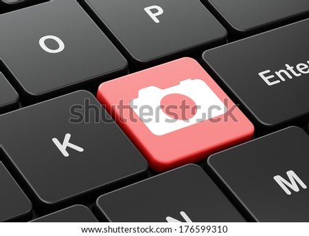 Vacation concept: computer keyboard with Photo Camera icon on enter button background, 3d render
