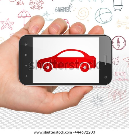 Vacation concept: Hand Holding Smartphone with  red Car icon on display,  Hand Drawn Vacation Icons background, 3D rendering