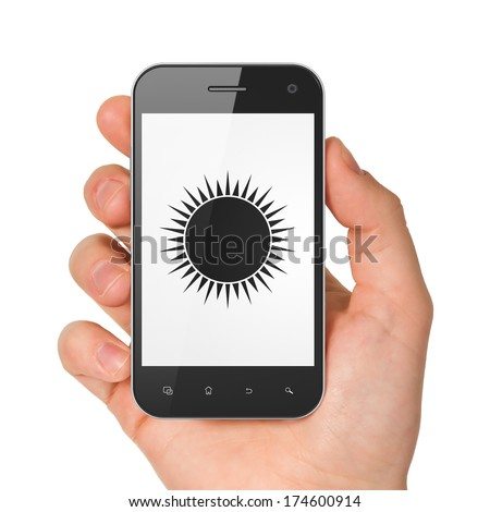 Vacation concept: hand holding smartphone with Sun on display. Mobile smart phone on White background, 3d render - stock photo