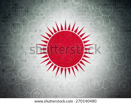 Vacation concept: Painted red Sun icon on Digital Paper background with Scheme Of Hand Drawn Vacation Icons, 3d render - stock photo
