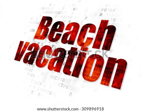 Vacation concept: Pixelated red Beach Vacation icon on Digital background