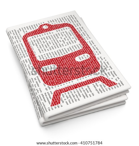 Vacation concept: Pixelated red Train icon on Newspaper background, 3D rendering