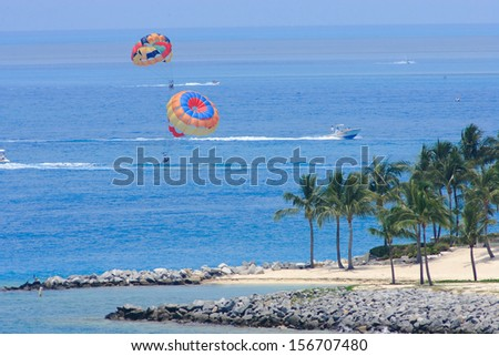 Vacation day in Key west , with funny ship . - stock photo