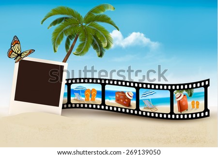Vacation film tape on a beach. - stock photo