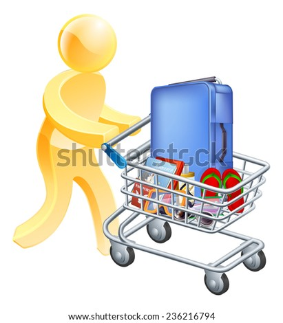 Vacation holiday man trolley. A man pushing a trolley with holiday essentials in it. Shopping for a holiday or vacation trip. - stock photo