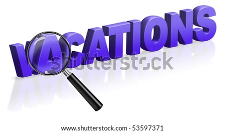 vacation holiday travel tourism search button 3D text - stock photo
