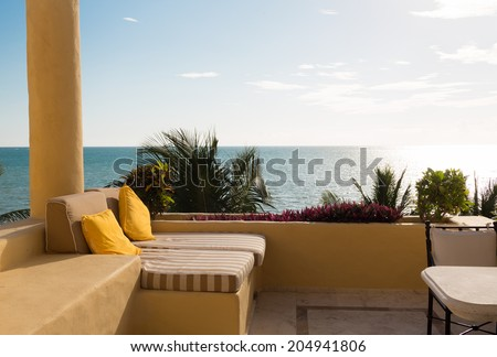 Vacation home travel concept sea view stock photo for Balcony concept