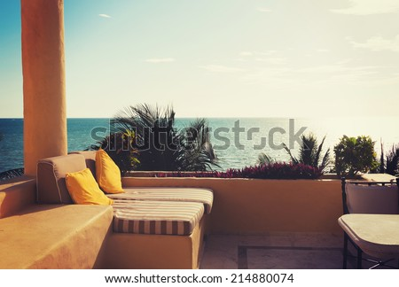 vacation, home and travel concept - sea view from balcony of home or hotel room - stock photo
