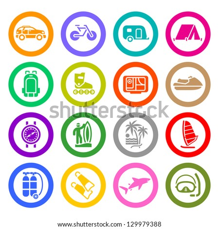 Vacation icons set. Vector copy also available - stock photo