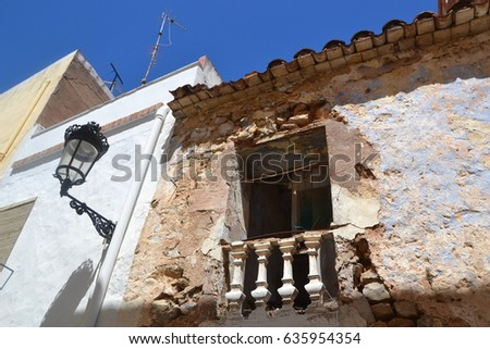 Vacation in Spain: fragments of traditional old spanish architecture in a small rural village in Castellon de la Plana area near Valencia
