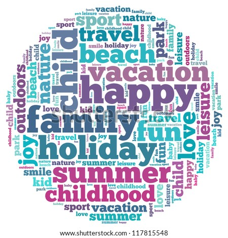 Vacation info-text graphics and arrangement concept on white background (word cloud)