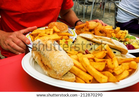 Unhealthy eating stock images royalty free images for Terrace fish and chips