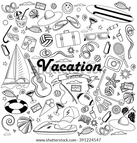 Vacation line art design raster illustration. Black and white design elements. Separate objects.