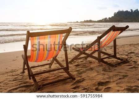 Vacation of dream for family. Luxury view from deck chairs to the sea. Resort hotel for honeymoon in Thailand