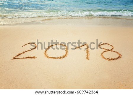 Vacation 2018 or New Year`s celebration on the tropical beach