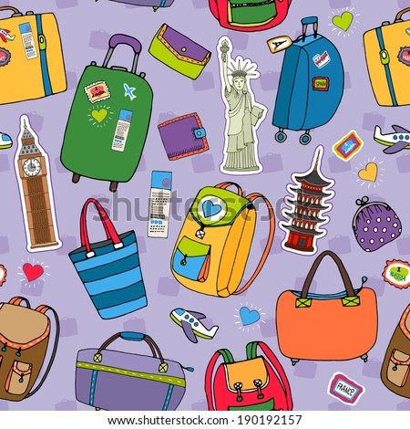 Vacation or travel background seamless pattern with a variety of suitcases  backpacks and luggage  tourist landmarks including Big Ben  Statue of Liberty and Japan  purses and wallets on purple