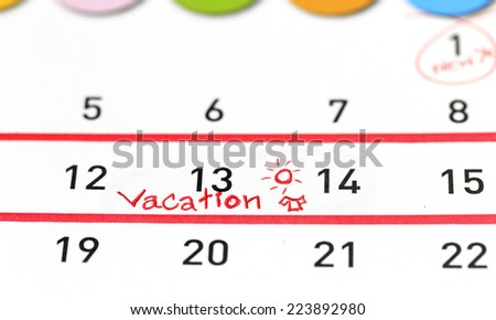 Vacation plan written on calendar