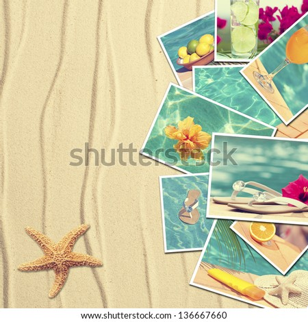 Vacation postcards on sandy background with starfish - stock photo