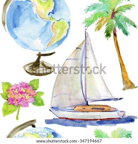 Vacation seamless pattern. Hand draw illustration